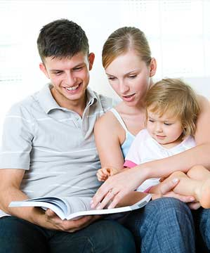 Family studying at home